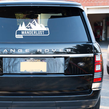 Wanderlust: Cool Mountain Banner Traveling or Hiking Car Decal