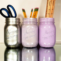 Back to School - Home, Dorm or Office Decor, Wedding - Mason Jars - Purple and Silver - Pencil Holder - Mason Jar Vase