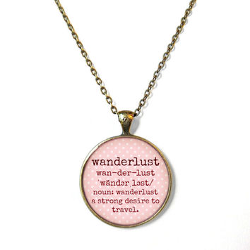 Peach Polka Dot Definition of WANDERLUST Necklace - Valentine's Day Motivational and inspirational Pendant with Small Arrow