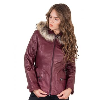 Plus Size Purple Hooded Pocket Leather Jacket