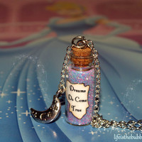 Dreams Do Come True Magical Necklace with a Night Moon Charm by Life is the Bubbles