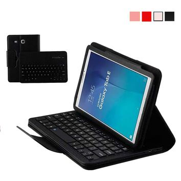 Removable Wireless Bluetooth Keyboard Case for Samsung Galaxy Tab E 9.6 inch T560 PU Leather Smart Folio Cover + ABS Keypad