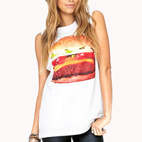 FOREVER 21 Fun Hamburger Muscle Tee White/Orange