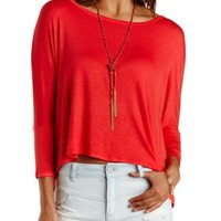 Wide Dolman Sleeve Trapeze Tee by Charlotte Russe