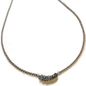 Labadorite rounds, minimalist necklace, layering necklace, grey necklace, Sterling chain and labadorite