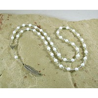 Ma'at Prayer Bead Necklace in Alabaster: Egyptian Goddess of Truth, Justice, and Order