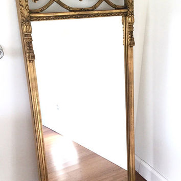 Large Gilt Trumeau Wall Mirror, Hollywood Regency, or Neoclassical Decorative Tassels and Acanthus Leaves