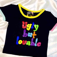 SWEET LORD O'MIGHTY! UGLY BUT LOVABLE RINGER TEE IN BLACK