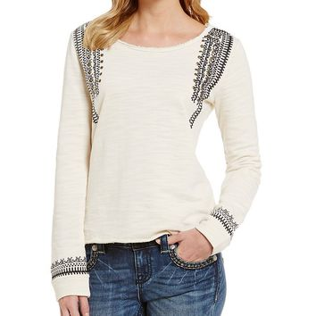 Miss Me Studded Embroidered Top | Dillards