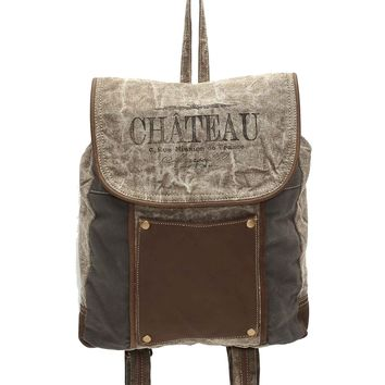 Myra Bag Chateau Up-cycled Canvas & Leather Pocket Backpack S-1004