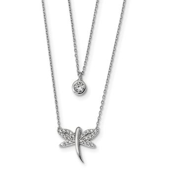 Sterling Silver Rhodium-plated Double Strand CZ Dragonfly Necklace QG4458