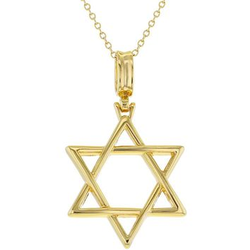 18k Gold Plated Religious Jewish Star of David Pendant Necklace Unisex 19""