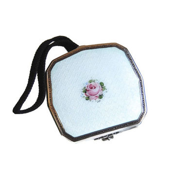 Guilloche Enamel Sterling Mirror Compact Antique Edwardian Accessories Bath & Beauty Boho Flapper Dance Purse Gift for Her c1925-1930
