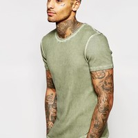 ASOS | ASOS Extreme Muscle T-Shirt In Rib With Oil Wash In Green at ASOS