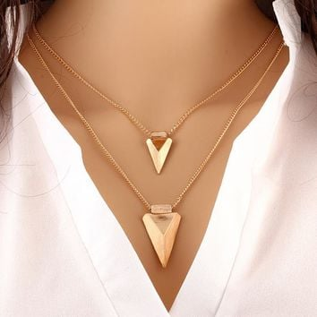 BUY 1 GET 1 FREE. Double Triangle Pendants Necklaces Women