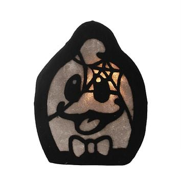 """12"""" LED Lighted Black Spooky Ghost Face Halloween Decoration"""