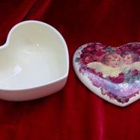 Vintage Ceramic HEART SHAPED TREASURE Box
