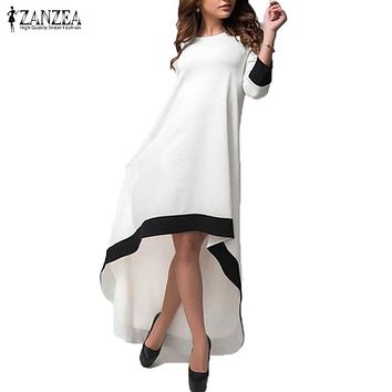 ZANZEA Women  3/4 Sleeve Long Maxi Dress Patchwork O Neck Vestidos Plus Size S-5XL Asymmetrical Dress