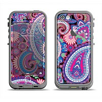 The Vibrant Purple Paisley V5 Apple iPhone 5c LifeProof Fre Case Skin Set