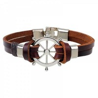 Rudder Multilayer PU Leather Bracelet - Coffee