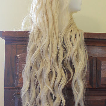 Daenerys Targaryen Wig - Season 4 Styled Platinum Blonde Khaleesi Lace Front Wig - Game of Thrones - Custom Costume Cosplay Pale White Blond