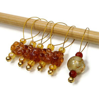 Knitting Stitch Markers Set, Beaded, Snag Free, Amber Flowers, Gift for Knitter, Direct Checkout, TJBdesigns