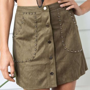 Army Green High Waist Faux Suede Stud Detail Mini Skirt