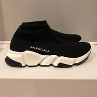 RARE WOMENS Balenciaga Speed Trainer Knit Sock BLACK WHITE Sneakers size 36 US 6
