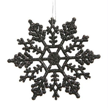 24 Christmas Ornaments - Black Glitter Snowflake