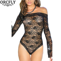 ORCFLY Erotic Body Dentelle 2016 Catsuit Black Red Sexy Sheer Off-shoulder Bell Sleeve One Piece Lace Bodysuit Lingerie 32010