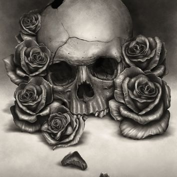 """Skull And Roses"" - Art Print by Rodger Pister"