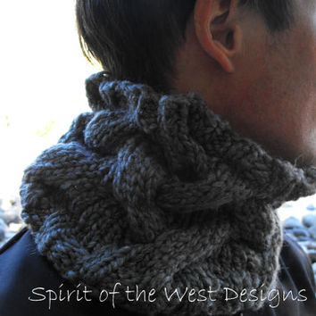 ManlyMan Cowl - Knit Pattern, Chunky cabled cowl, neckwarmer, Bulky cowl, chunky knit, unisex cowl, mens accessories, mens cowl, infinity