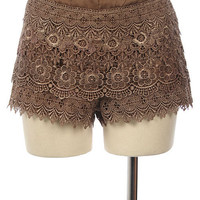 Designer Boutique Mocha Lace Crochet Shorts Size Medium, Celebrity Sightings! - Shorts