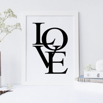 Love art prints, love print, love wall art, nursery print, nursery decor, love typography print, wall prints, black and white, digital print
