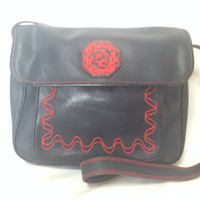 Vintage Fendi genuine navy leather shoulder bag with red embroidery logo, motif, and stitch. Rare purse.