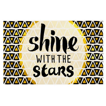 "Pom Graphic Design ""Shine with the Stars"" Black Yellow Decorative Door Mat"