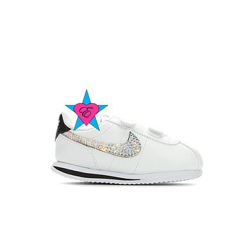 Infant Glitter Kid Kicks | White NIKE Cortez Basic SL | Toddler