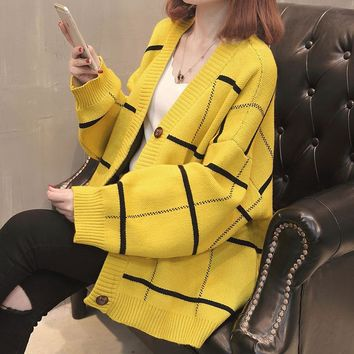 Cardigan Feminino 2018 Spring New V-Neck Plaid Loose Sweater Women Long Sleeve jumper Oversize knitted Cardigans Yellow