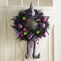 "Purple Witch Hat & Ornament 24"" Wreath"