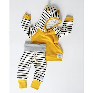 Newborn Kids Baby Boys Clothing Outfits 2pcs hooded Tops+Pants Baby Boy Clothes set Hoodies Tracksuit Set 0-3T