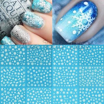 Christmas Snowflake Snow Styles Large 3D Nail Art Nail Stickers Decal Tips White Xmas Reindeer Feather Self-adhesive
