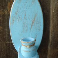 Beach Cottage Light Blue Pair of Vintage Wooden Sconces, Coastal Cottage, Shabby Chic, Candle Holder, Wall Decor, Blue Bathroom Decor