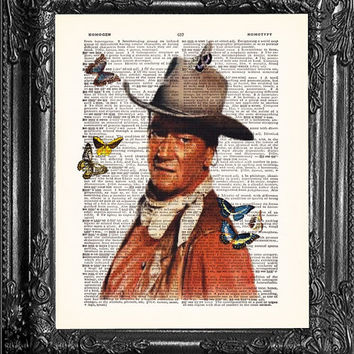 John Wayne Art-Dictionary Print Vintage Book Print Page, Upcycled Antique Book Page, Vintage Upcycled Vintage Book Art