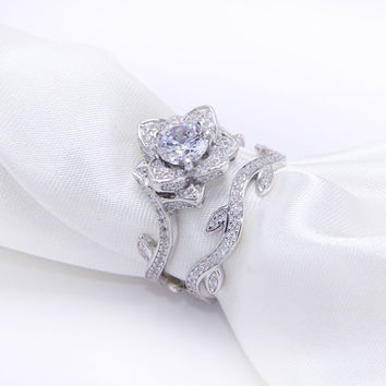 2.3 Ct Rose 14K White Gold Plated Engagement Ring Set