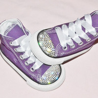 Custom Purple Crystal Converse Chuck Taylor All Star High Tops UK Infant Kids Baby Size 4 Kawaii Rhinestones Girly Bling Shoes