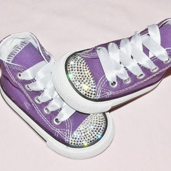 aa1b21b2f5eea Custom Purple Crystal Converse Chuck Taylor All Star High Tops UK Infant  Kids Baby Size 4 Kawaii Rhinestones Girly Bling Shoes