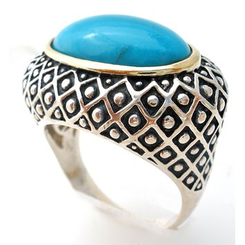 Sterling Silver Turquoise Ring Size 8 ATR