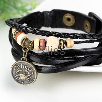 SHIPS FROM USA 2017 Vintage Multilayer Braided Constellation Cancer Charms Bracelets Bohemia Wristband Cuff Leather Bracelet For Women Men