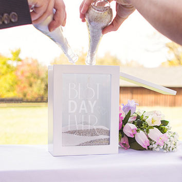 Personalized Best Day Ever White Unity Sand Ceremony Shadow Box Set