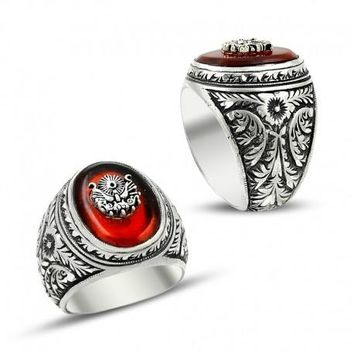 Filigree unique fire amber gemstone 925k sterling silver mens ring
